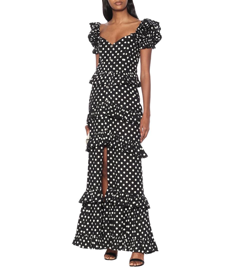 Caroline Constas - Iva polka-dot stretch-cotton dress