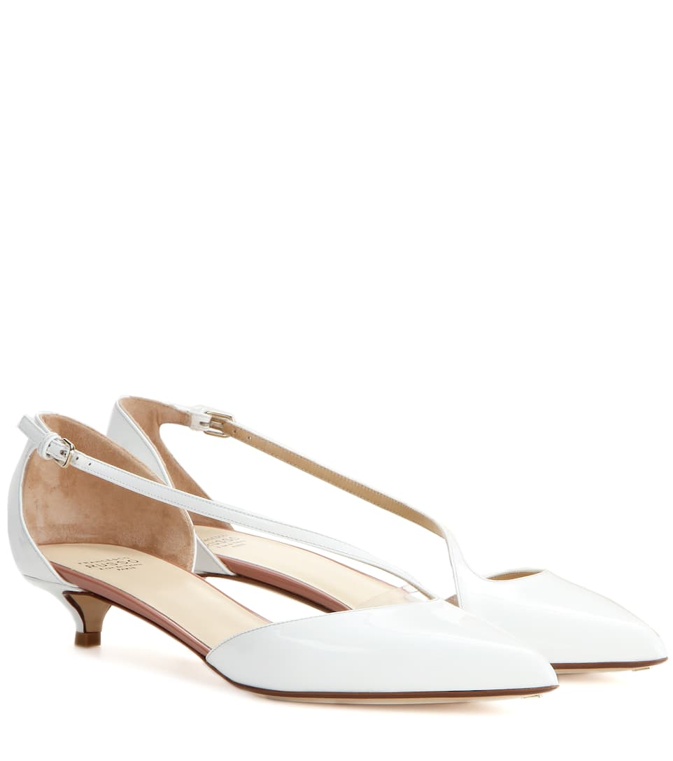 Francesco Russo Patent leather kitten-heel pumps