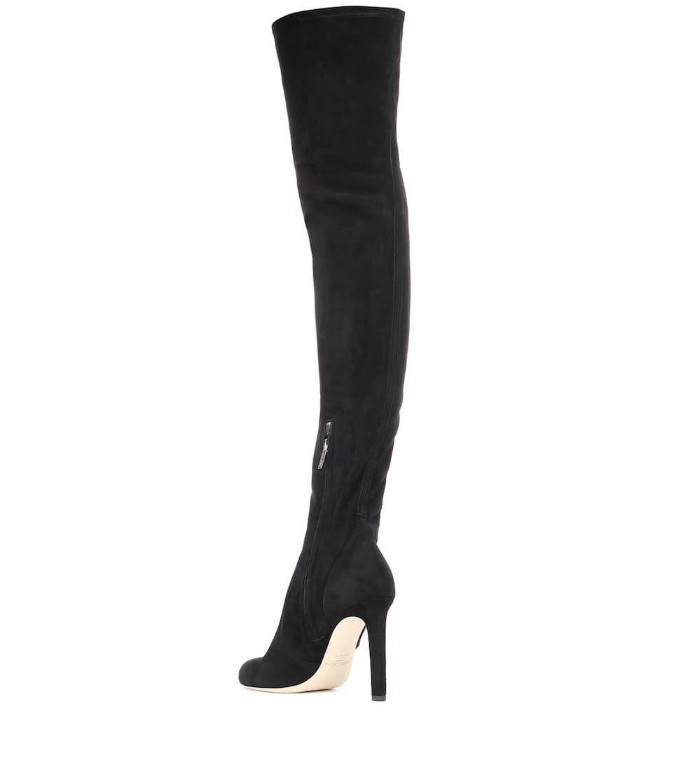 View Online Jimmy Choo Marie 100 suede over-the-knee boots BLACK/BLACK Clearance Best Prices tIdj5VCk