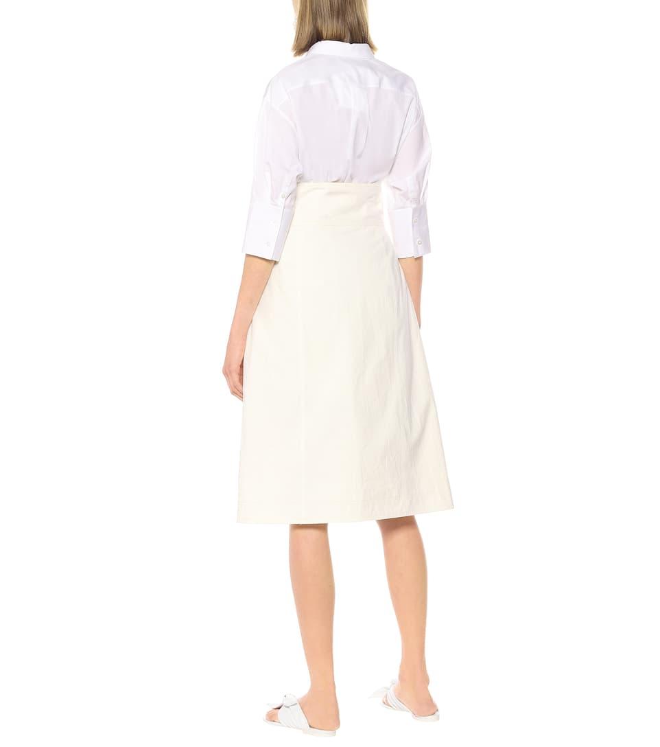 Asymmetric Cotton Midi Wrap Skirt | Jil Sander - Mytheresa