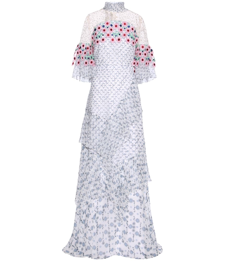 Peter Pilotto Floral-printed silk dress with lace