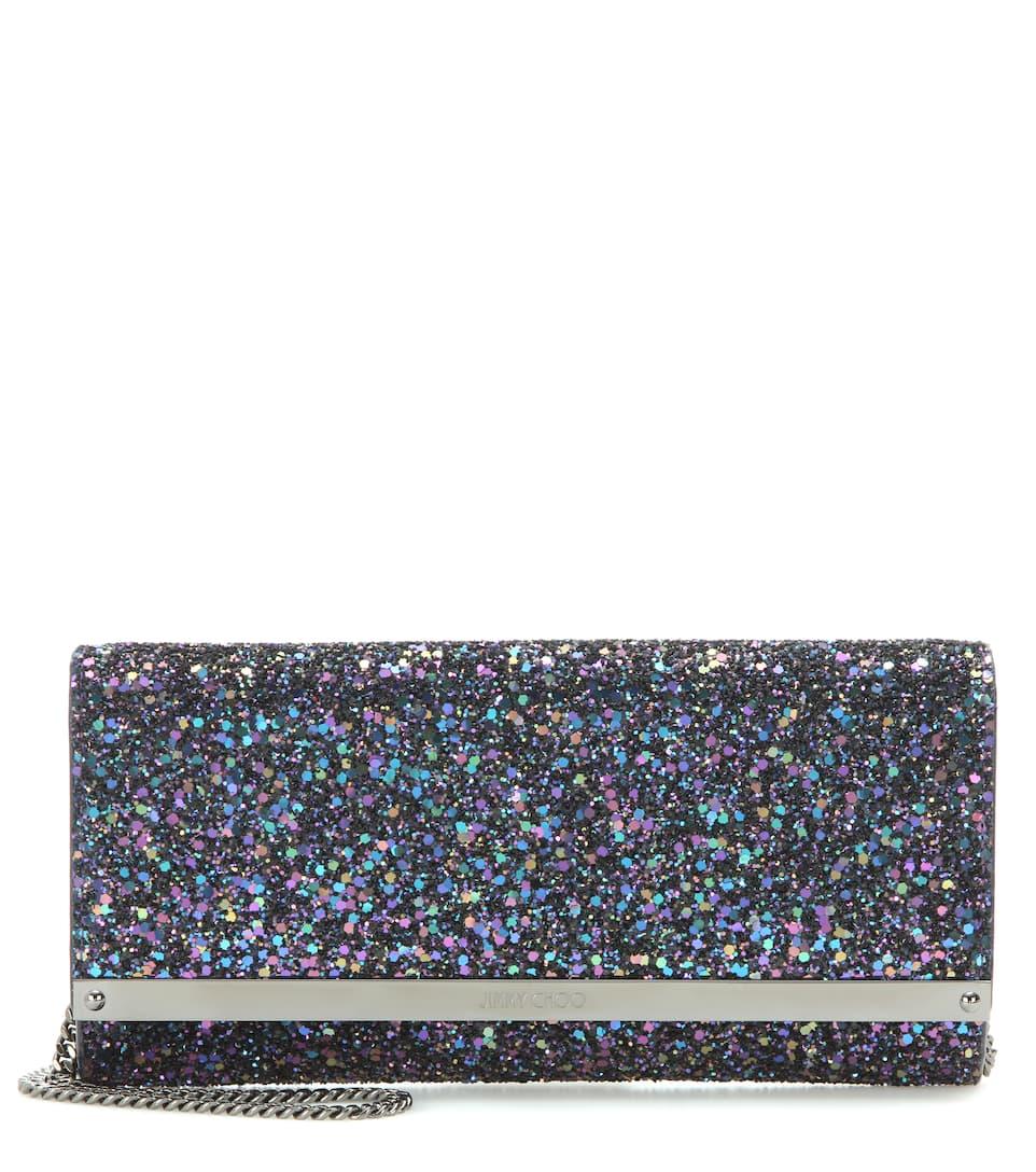 Jimmy Choo Milla glitter clutch