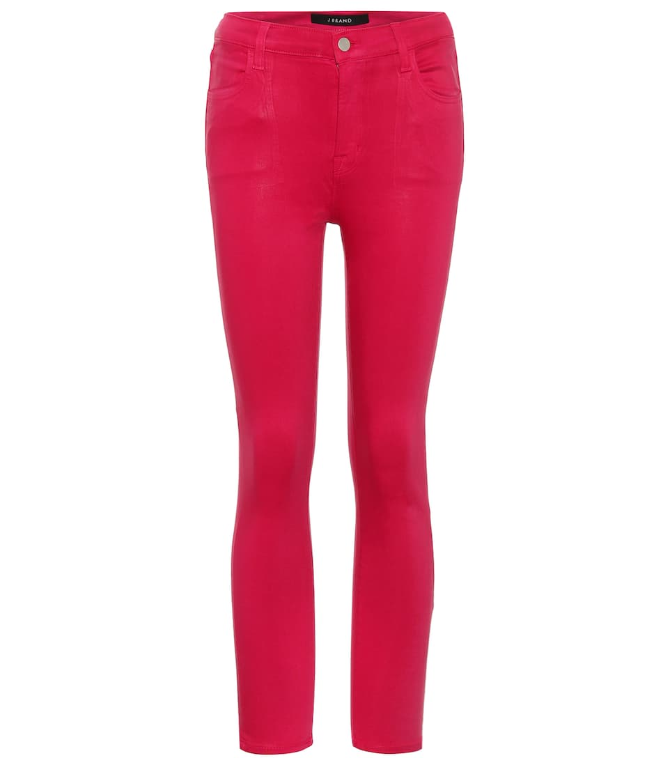 Alana High-Waisted Coated Jeans in Pink