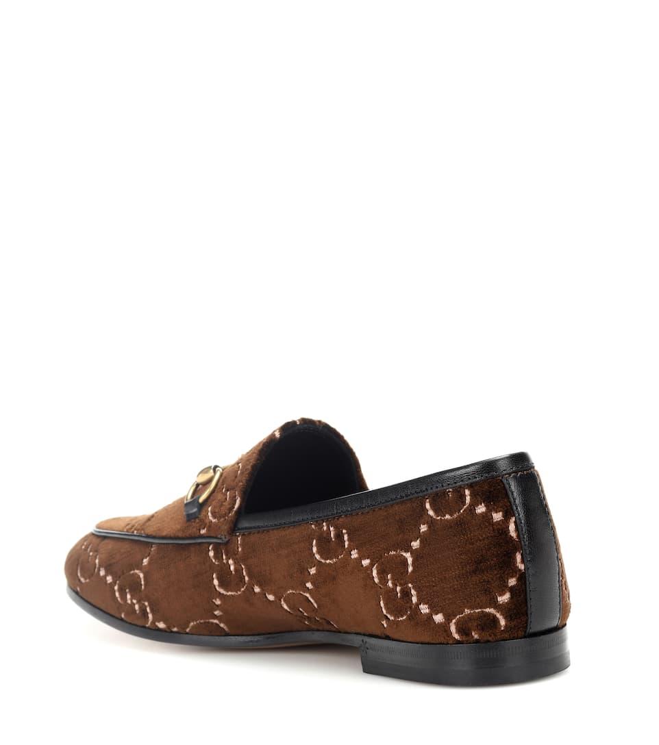Gucci New Jordaan Velvet Loafers - Brown Size 6