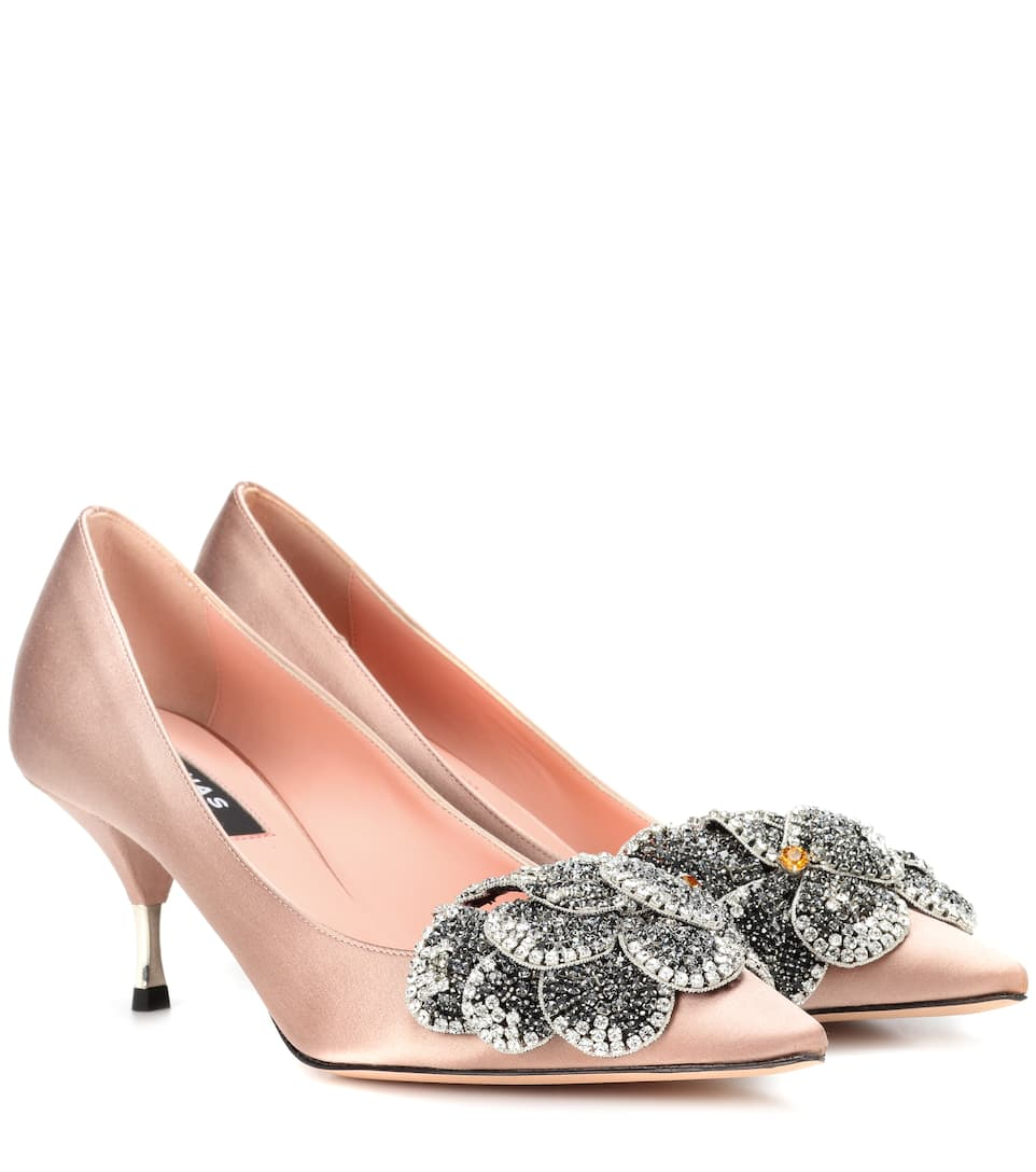 07cb5fa1c251 Rochas - Crystal-embellished satin pumps
