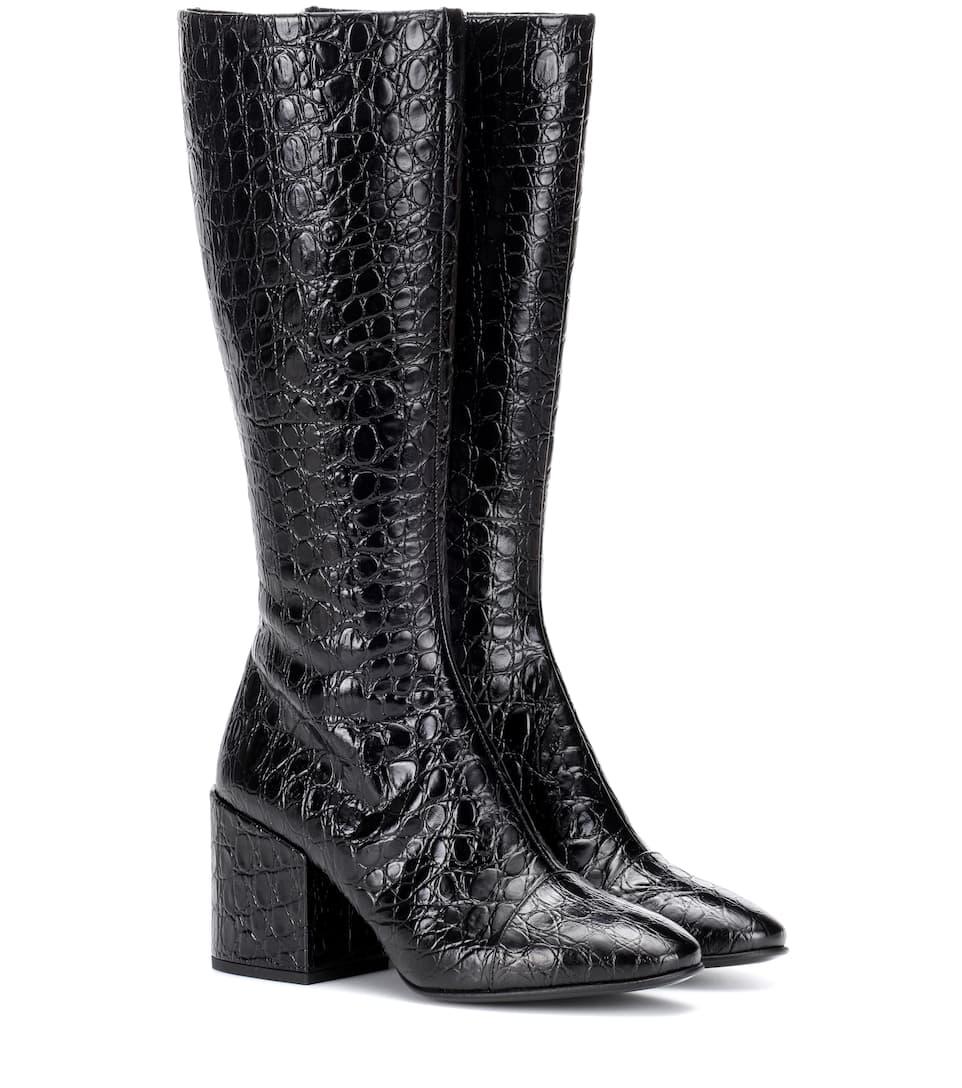 34a3c53653b1 Croc-Embossed Leather Boots - Dries Van Noten