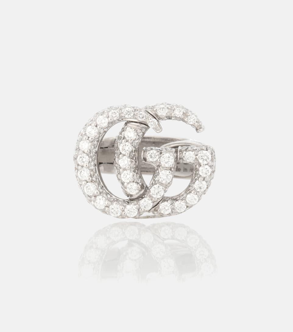 Orecchino Singolo Doppia G In Oro Bianco 18Kt Con Diamanti - Gucci ... b4ad58eb3dc2