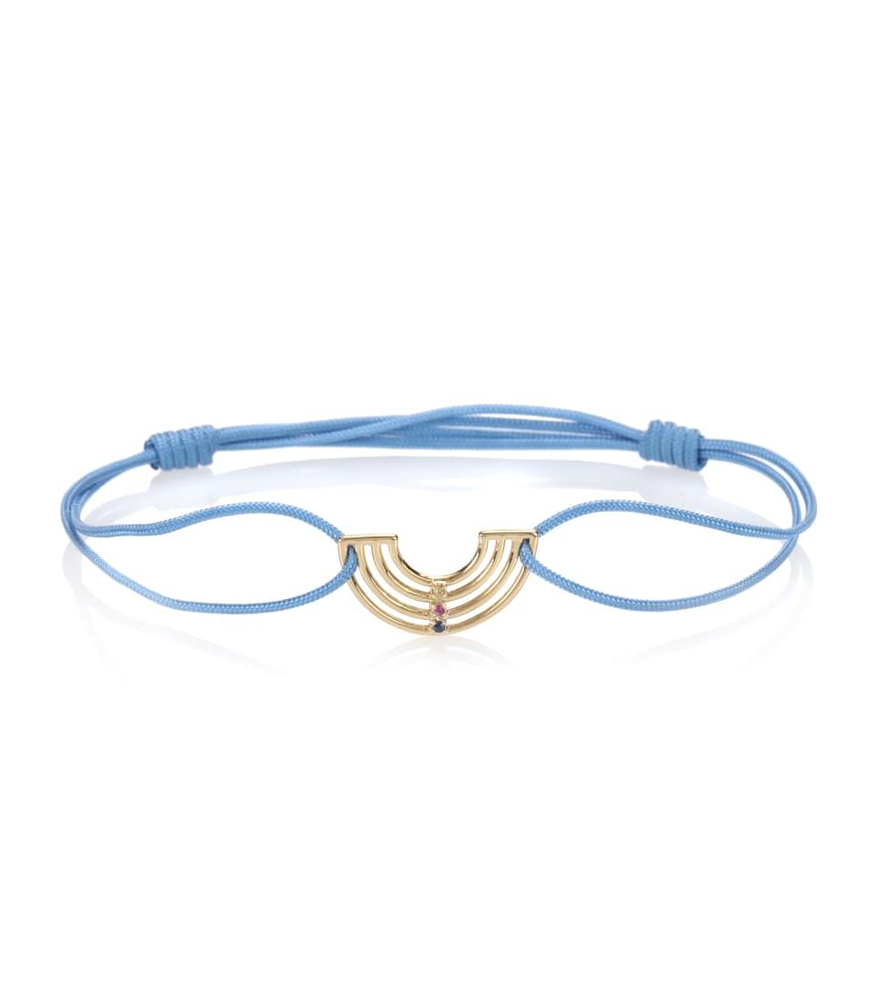 Arcoiris 9kt gold cord bracelet with sapphire Aliita d5hMByJU