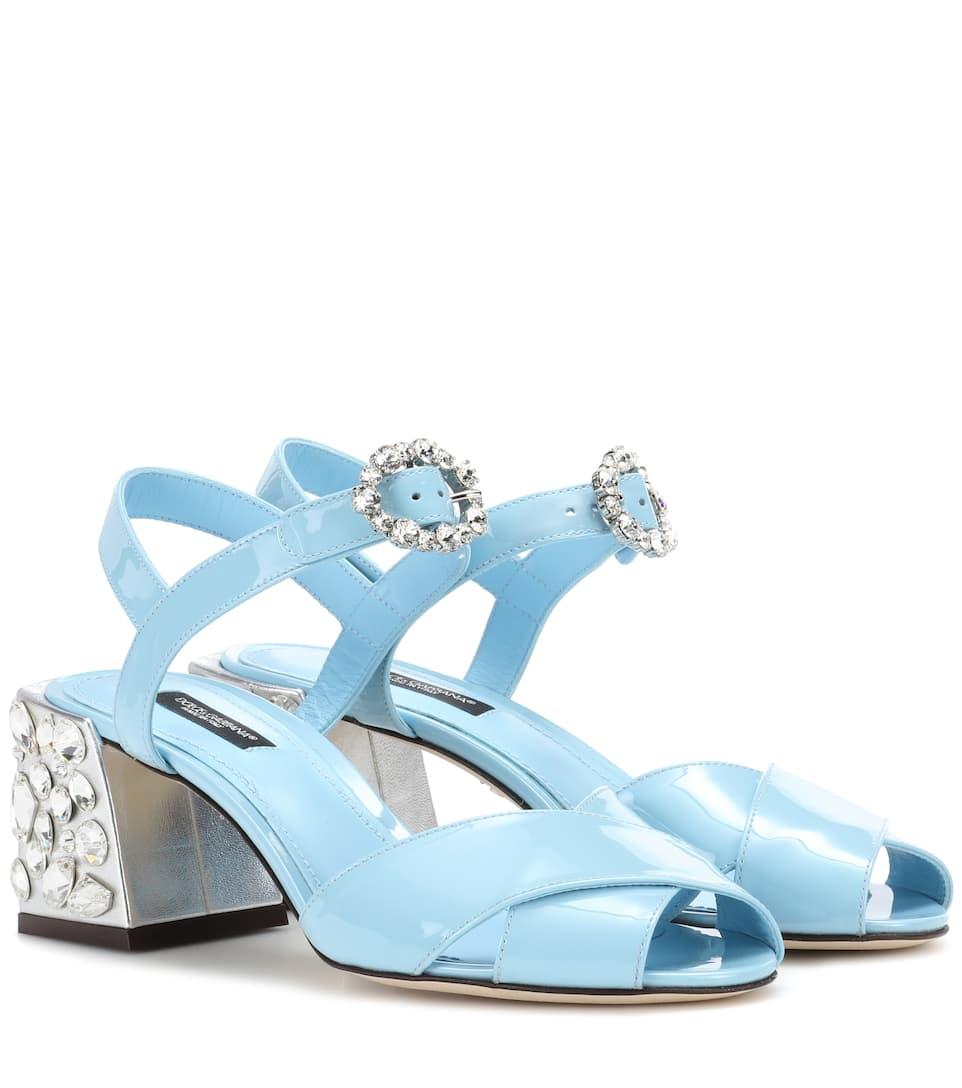 Sandales En Cuir Verni À Cristaux - Dolce & Gabbana