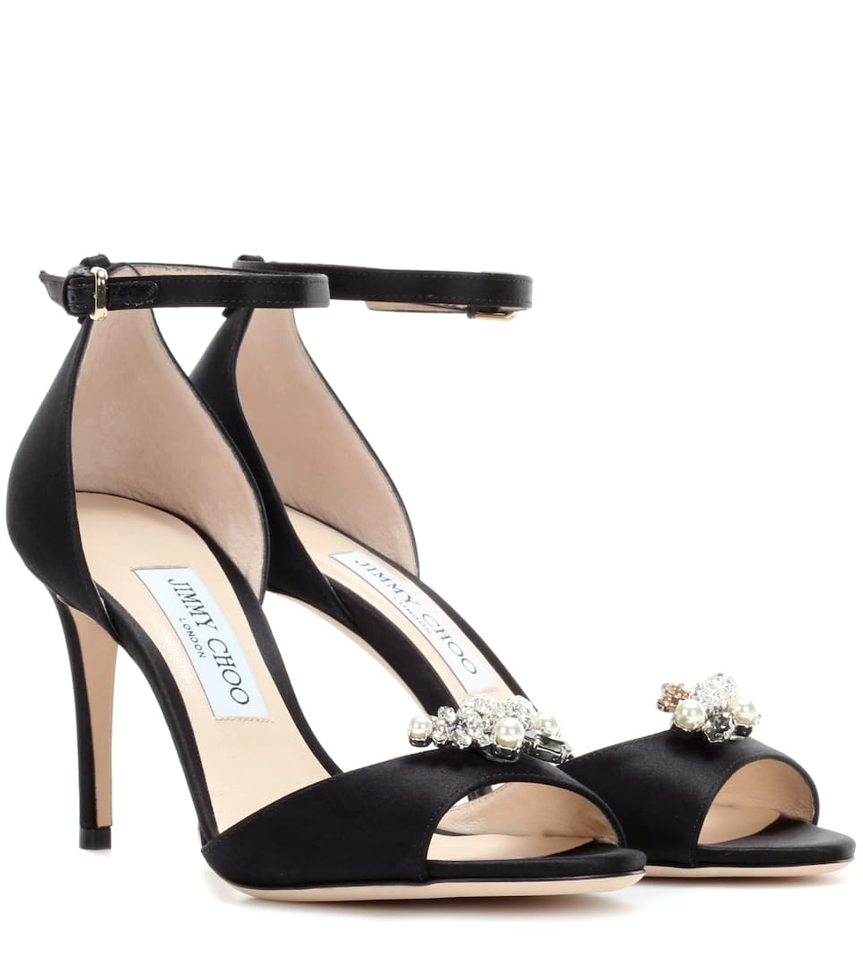 Jimmy Choo Tori 85 satin sandals with crystal-embellished clips