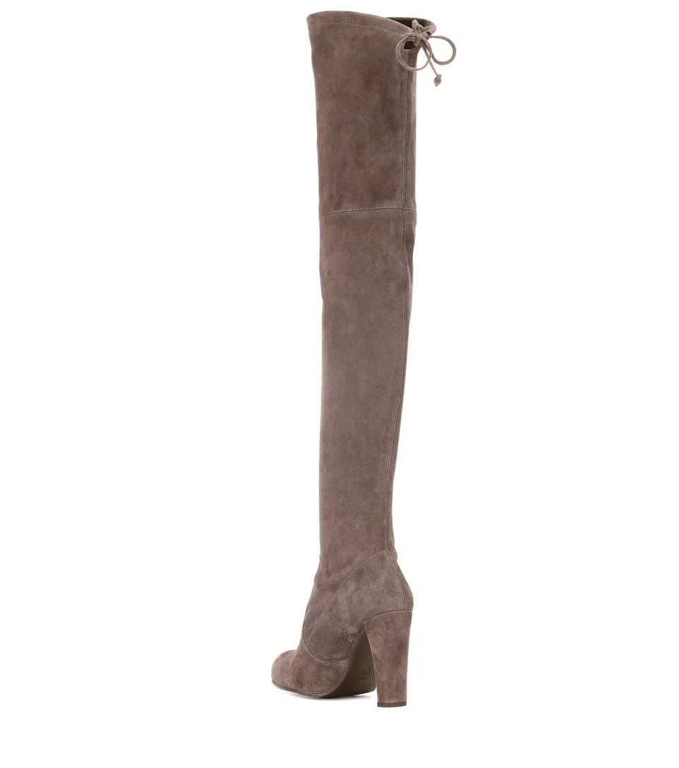 Stuart Weitzman Overknee-Stiefel Highland aus Veloursleder