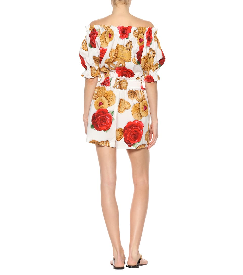 Printed cotton poplin playsuit Dolce & Gabbana Comfortable Cheap Price Discount Lowest Price Cheap Prices Clearance Really tDY0hffSJ