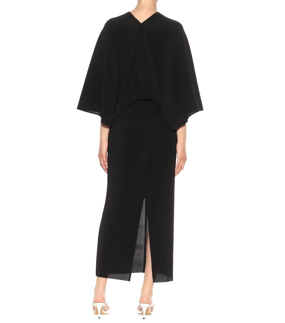vestido Bello Negro plisado El Row dqaptZwC
