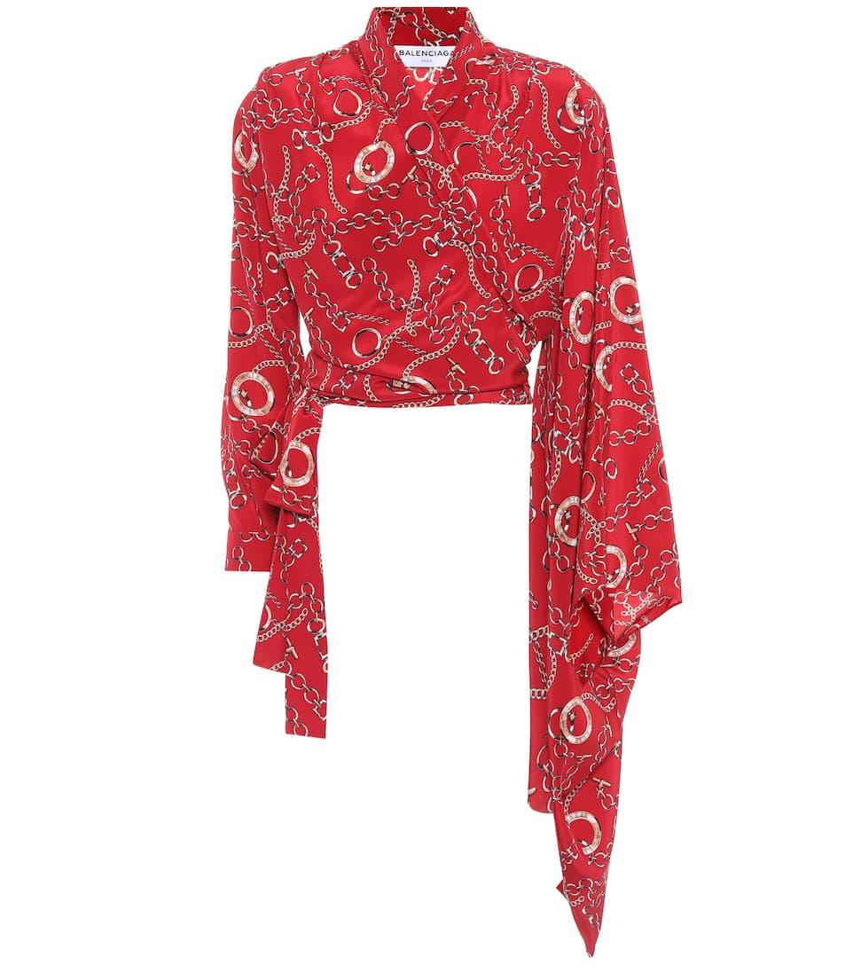Balenciaga Printed Wrap Blouse In Silk