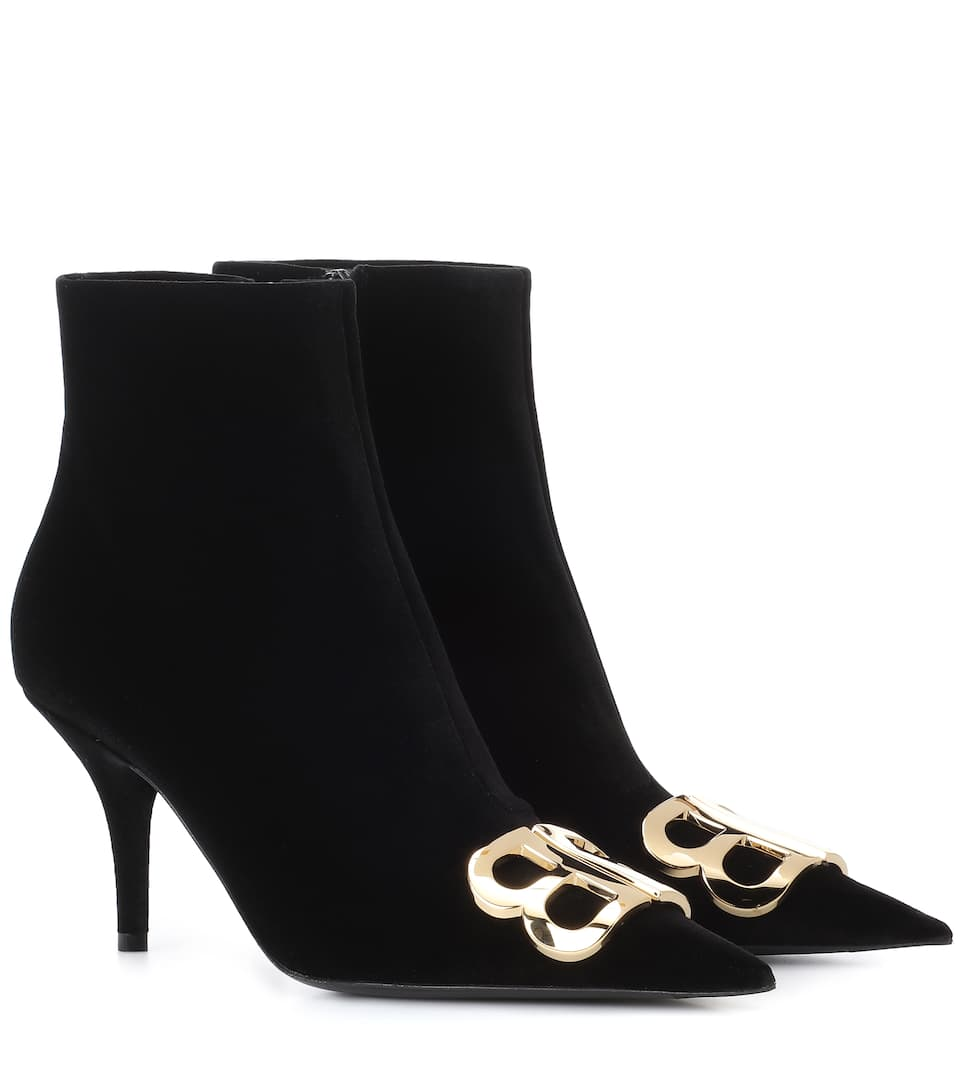 Bb Velvet Ankle Boots by Balenciaga