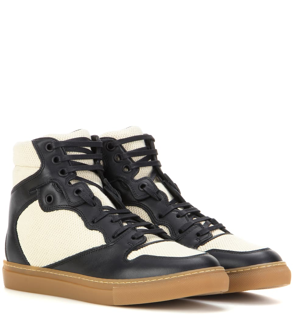 Balenciaga Leather and fabric high-top sneakers
