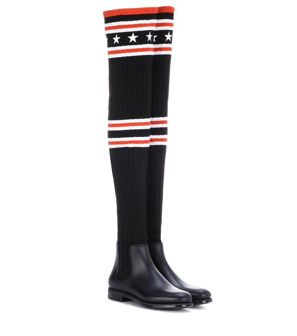 Stivali cuissardes in maglia e gomma Givenchy SuTq99Mk85
