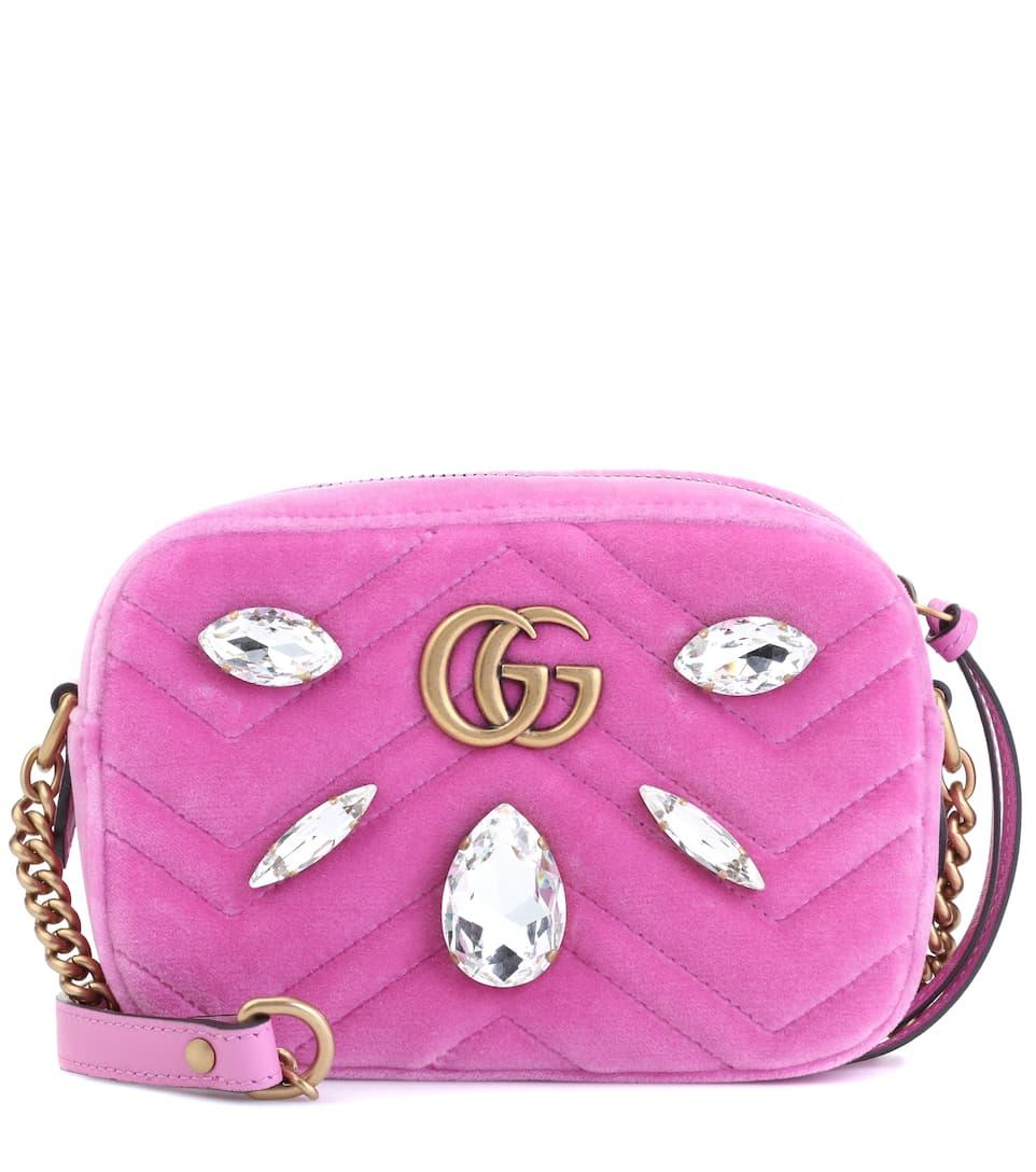 57d334d0a6ed Gg Marmont Mini Velvet Shoulder Bag | Gucci - mytheresa.com