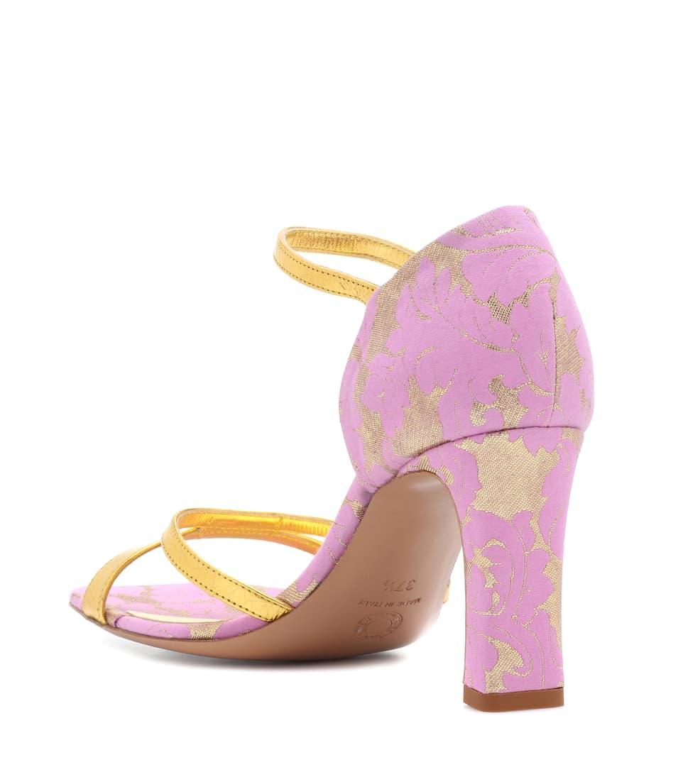 Dries Van Noten Sandals Made Of Brocade And Metallic Leather