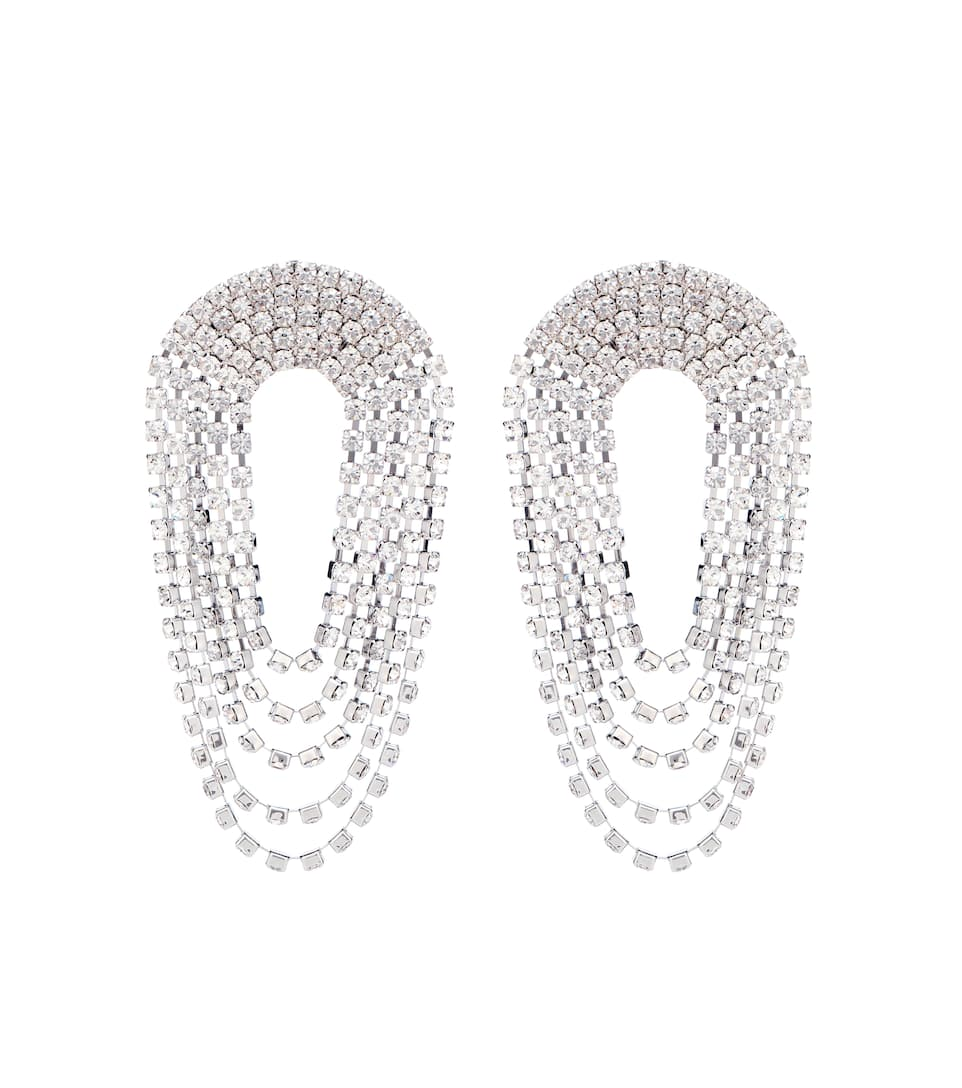 ALESSANDRA RICH Crystal Draped Circle Clip-On Earrings in Metallic