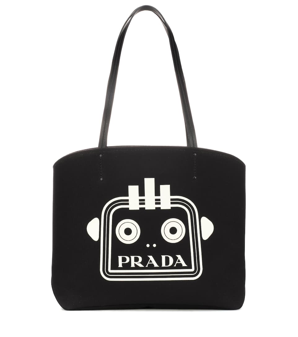 Printed Canvas Tote by Prada