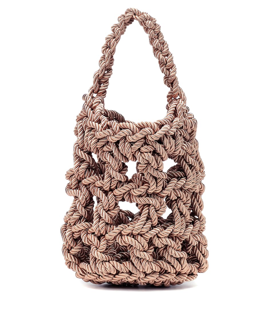 save up to 60% special for shoe look for Sylvia woven satin tote