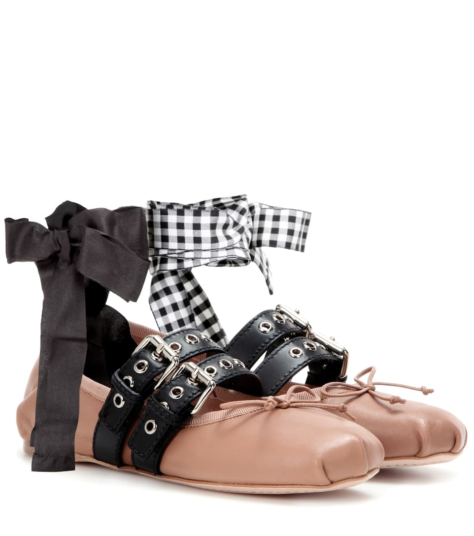 Miu Miu Embellished leather ballerinas clearance fast delivery sale 2014 newest clearance really pre order cheap price YFln8Aj