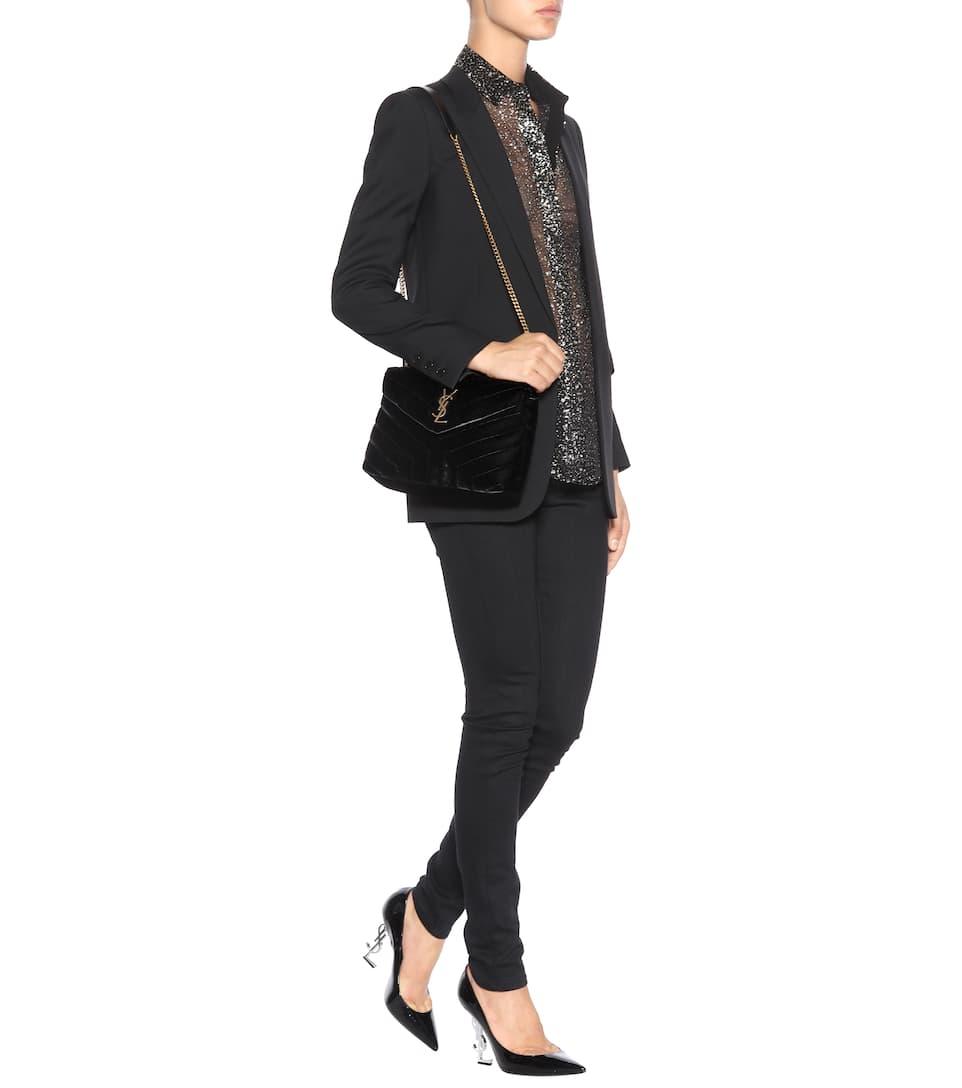 009dd0cd7 SAINT LAURENT Loulou Monogram Small Velvet Shoulder Bag in Eero | ModeSens