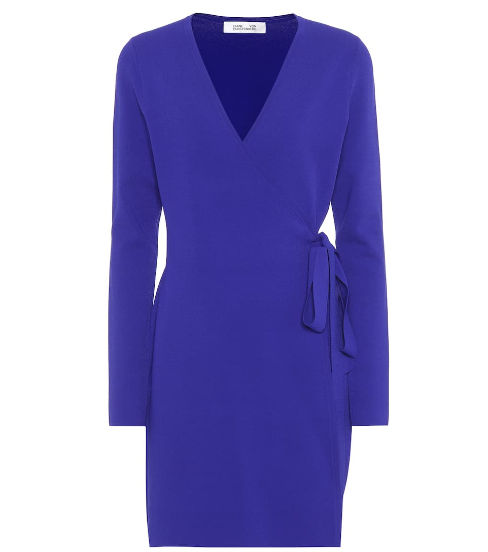 Knitted Wrap Cashmere Dress, Blue
