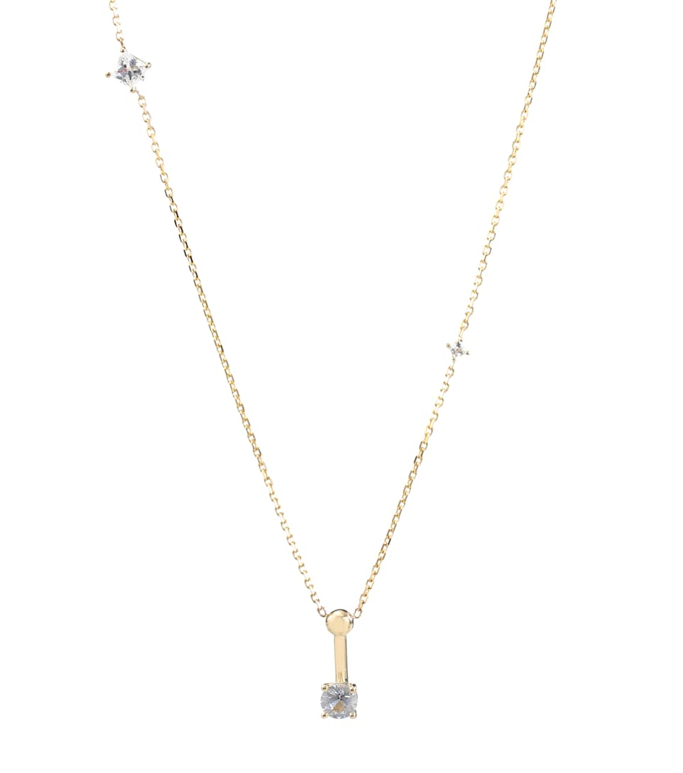 Wasson Dainty Chain 14kt gold and sapphire necklace MpaLlqA