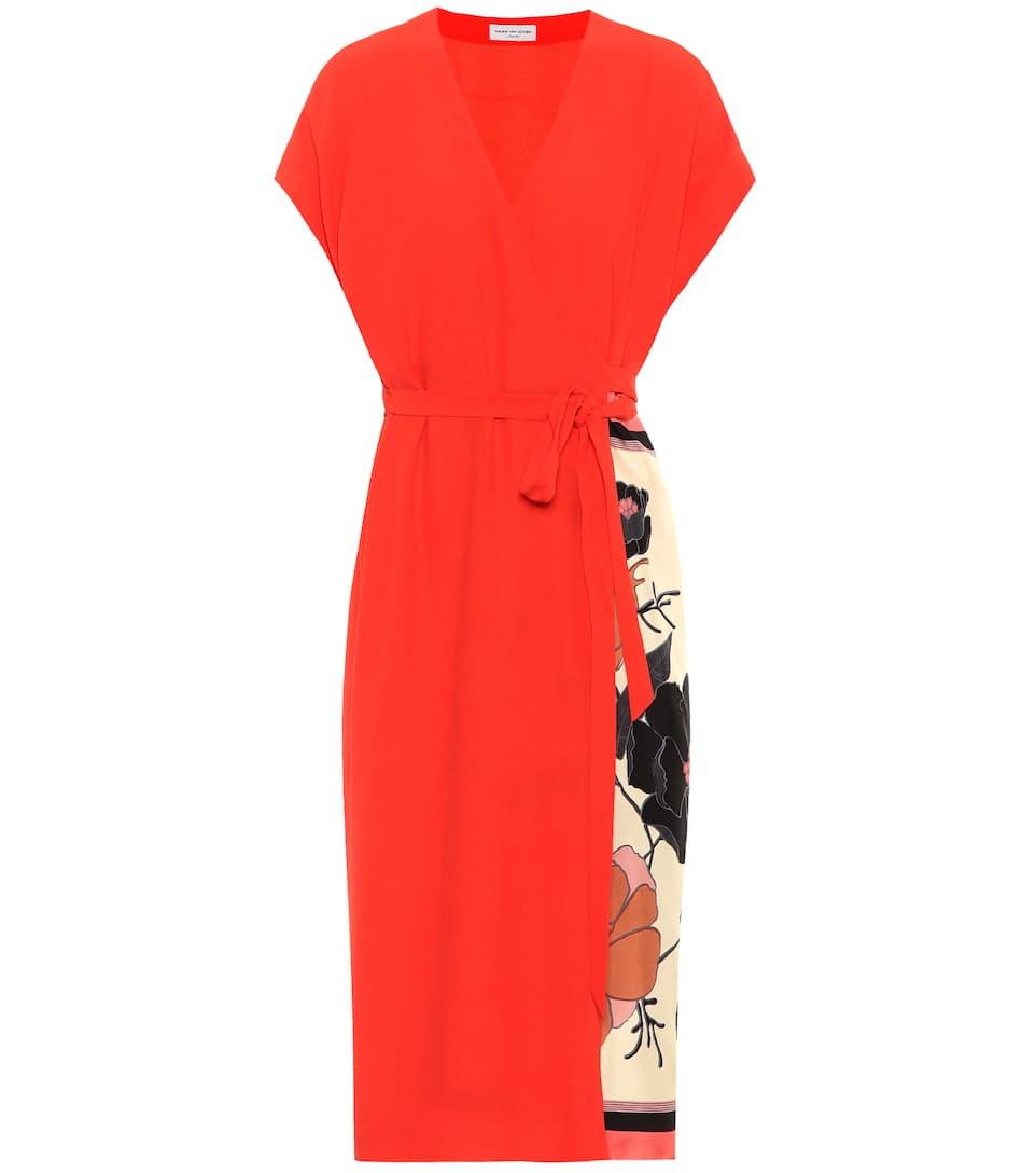 Dries Van Noten Printed Wrap Dress From Crêpe