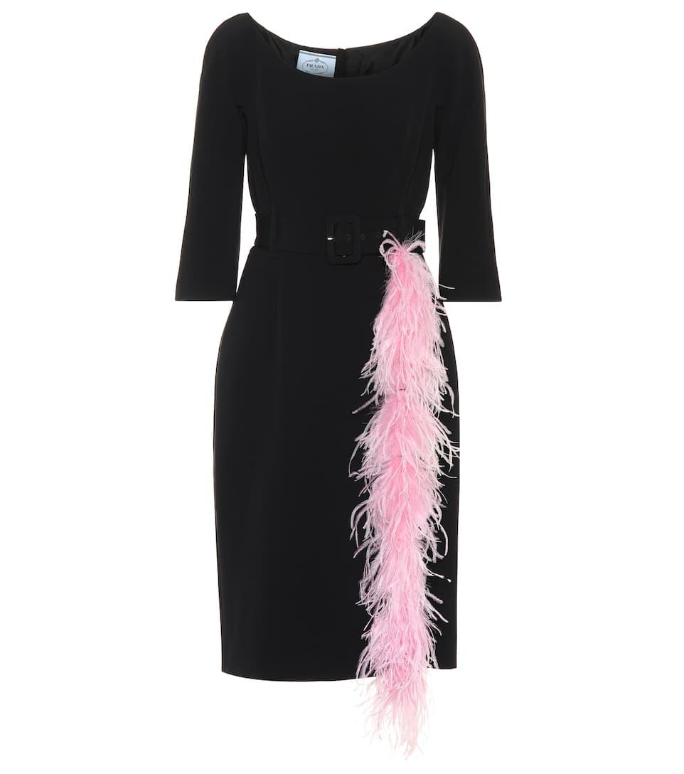 Prada - Feather-trimmed crêpe dress