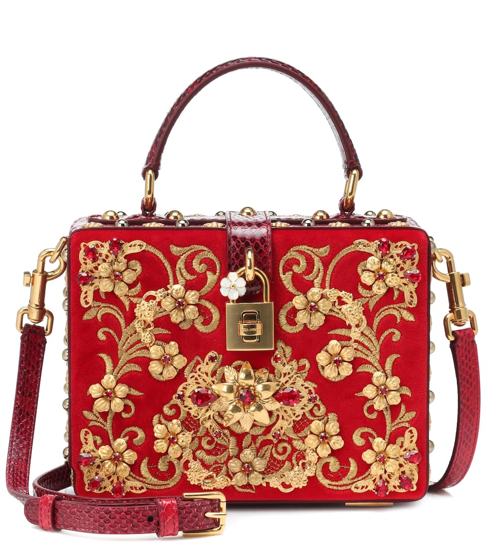 9ffda05f84 Dolce Box Embroidered Velvet Shoulder Bag - Dolce & Gabbana | mytheresa.com