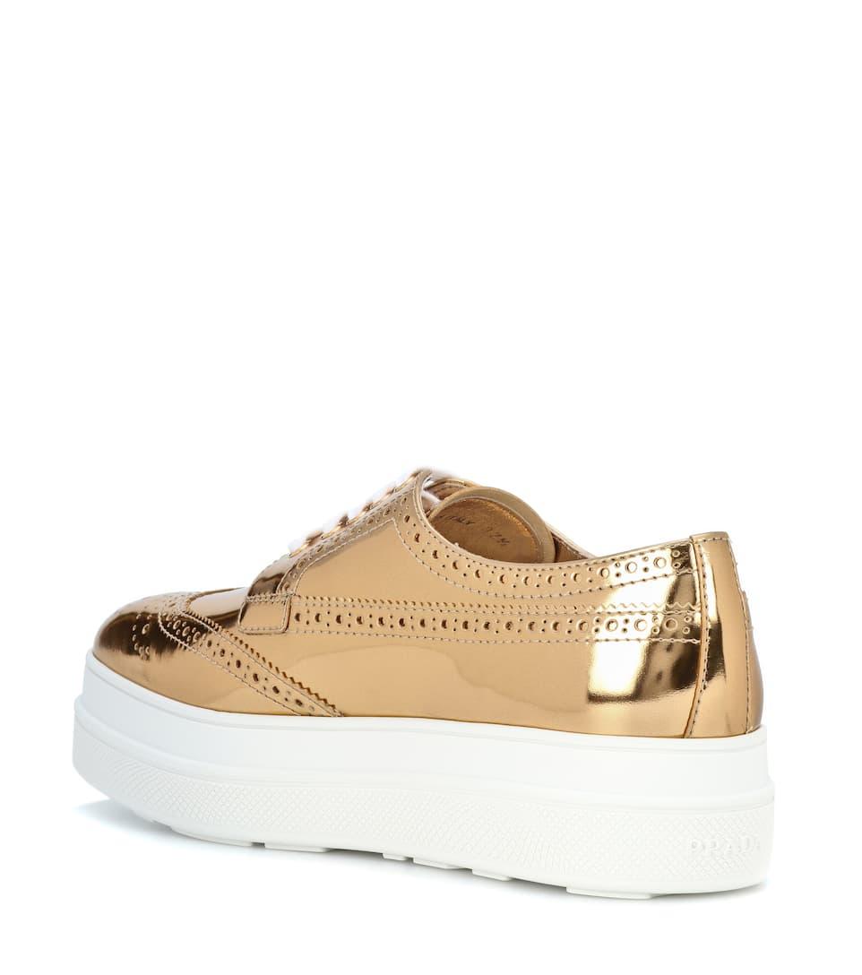 Prada Metallic leather platform sneakers Platino Outlet High Quality 8LqAXWt