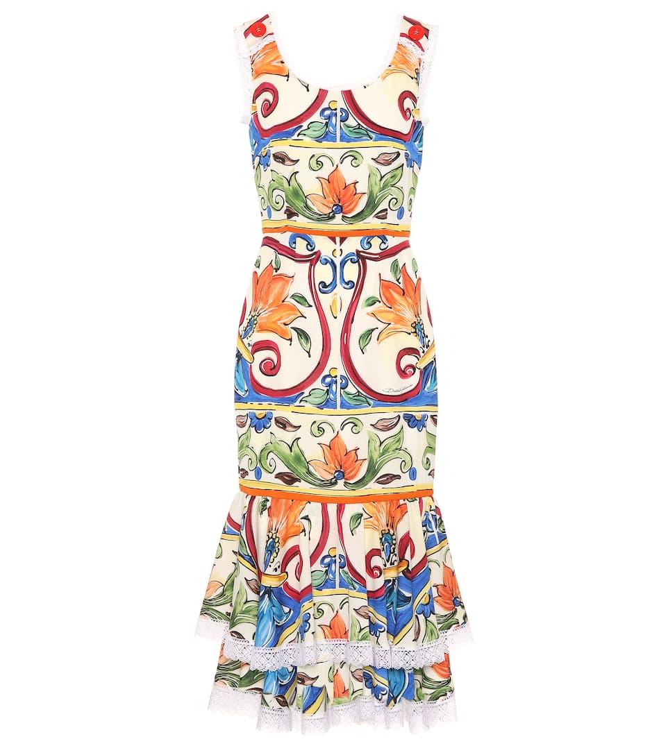 Dolce & Gabbana Bedrucktes Midikleid aus einem Seidengemisch Günstiges Online-Shopping Rabatte Verkauf Online Genießen Günstig Online Besuchen Günstigen Preis GXEIk