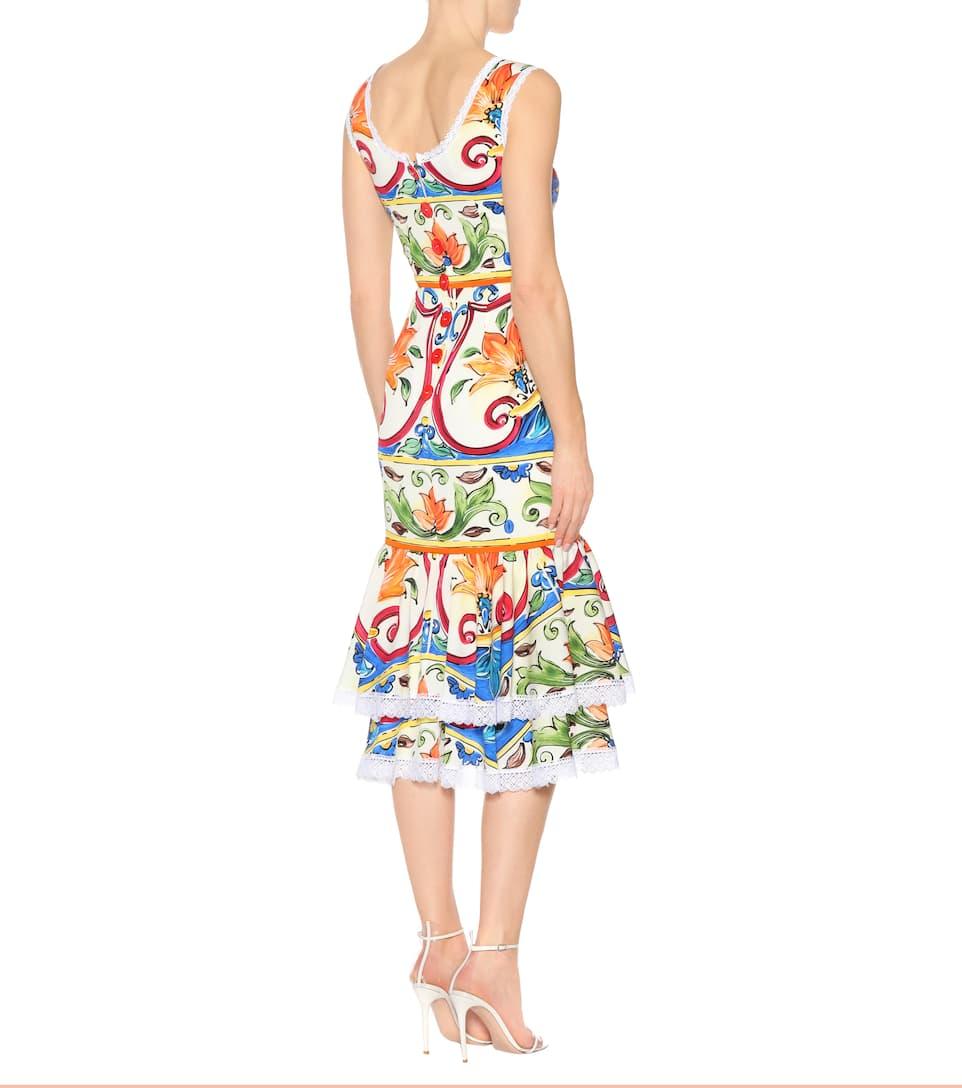 Dolce &; Gabbana Robe Midi Imprimée En Mélange De Soie