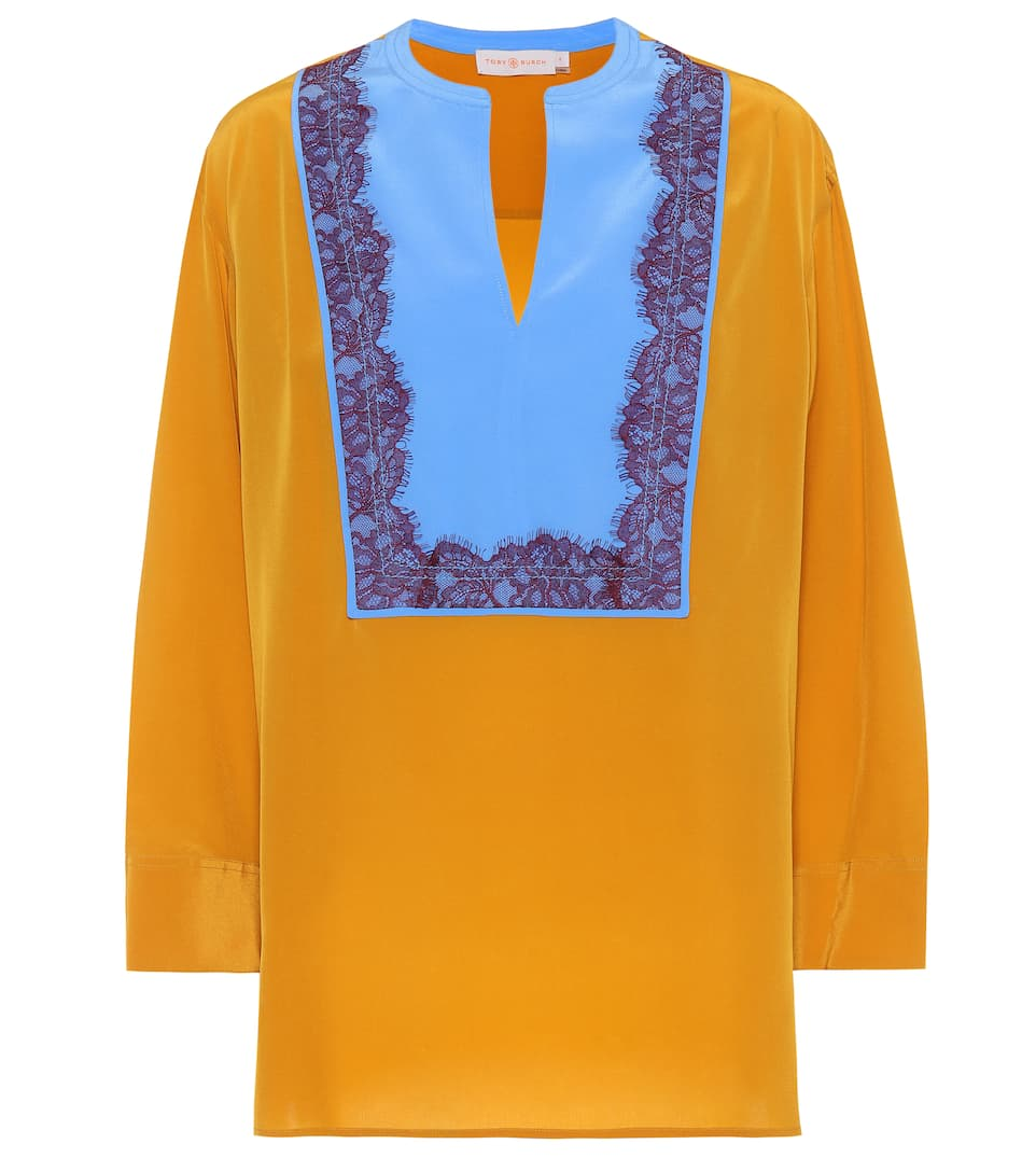 Lace-Trimmed Silk Tunic in Yellow