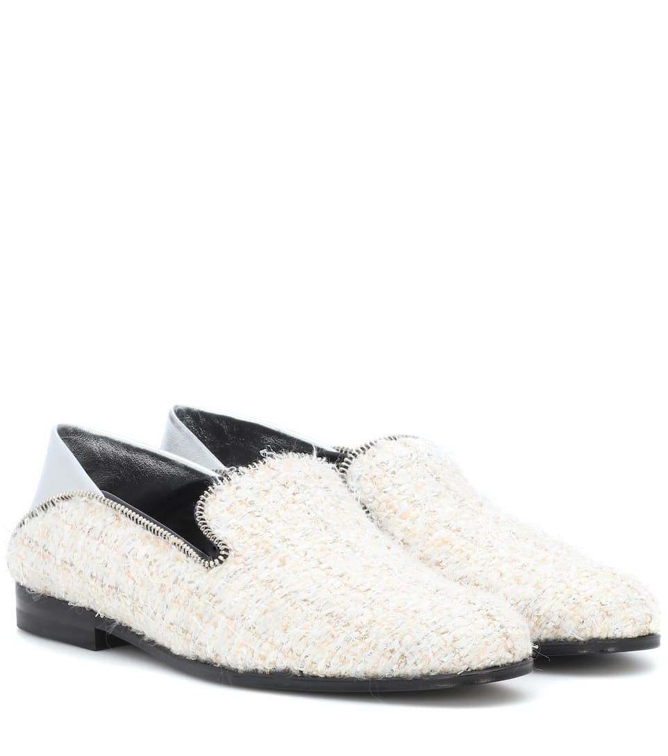 Leather-Trimmed Tweed Loafers, White