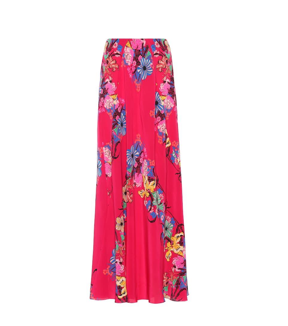 Etro Floral printed silk skirt Fuschia Authentic Online hsUbwbEp8x