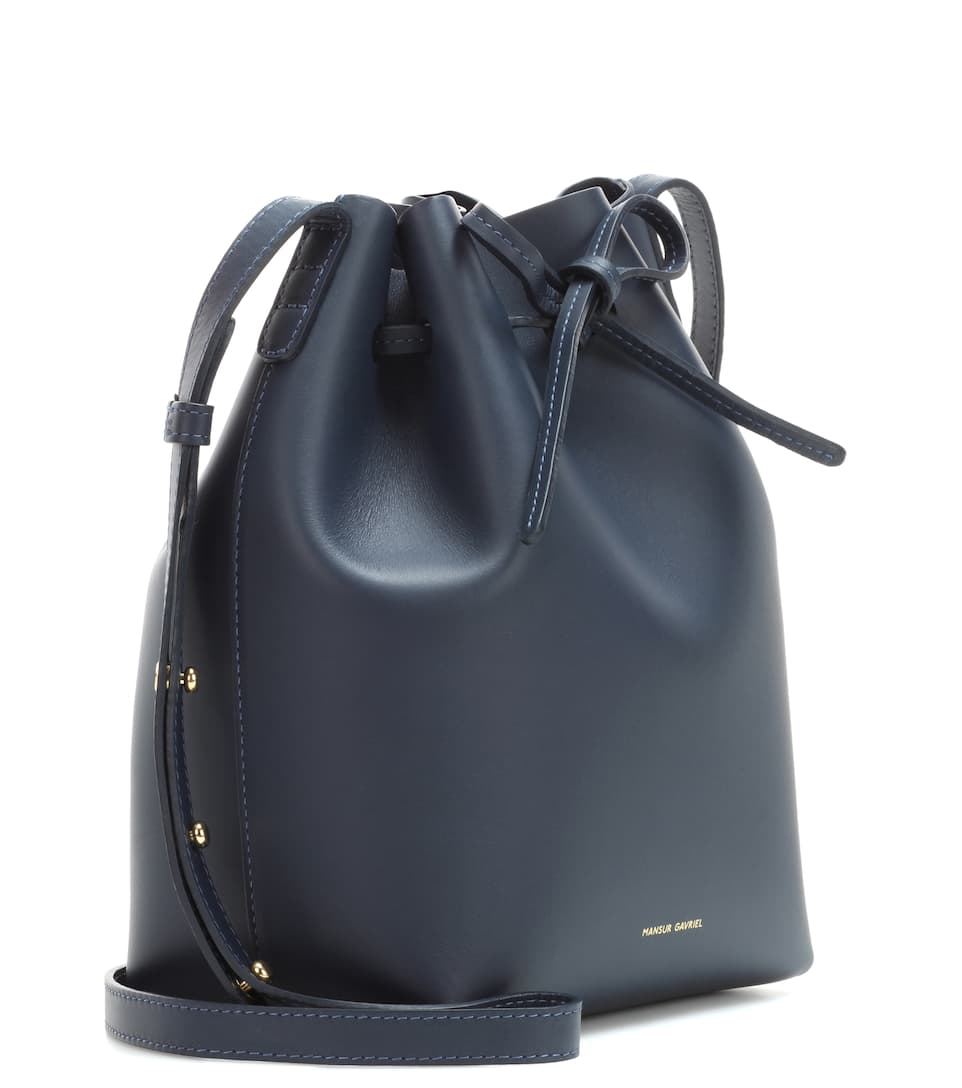 mansur gavriel 39 mini bucket 39 bag in naturally tanned navy. Black Bedroom Furniture Sets. Home Design Ideas