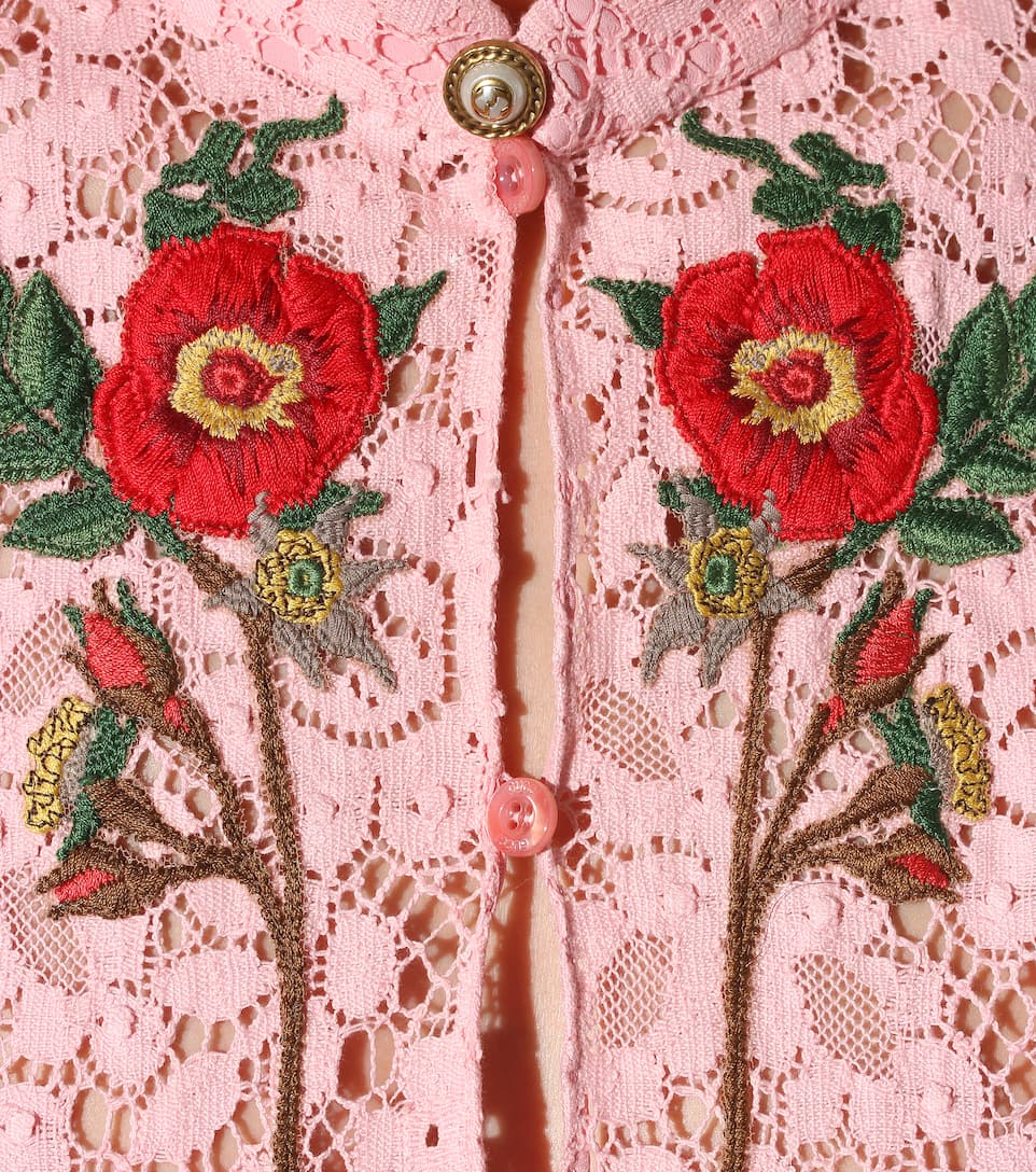 Stores in stock gucci flowers embroidered cotton lace