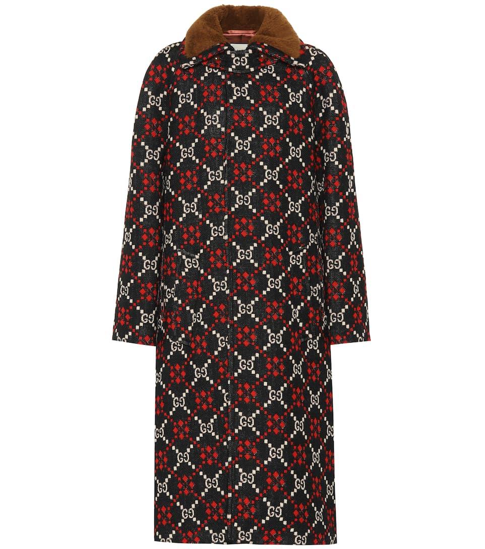 Gg Diamond Wool Cape Coat by Gucci