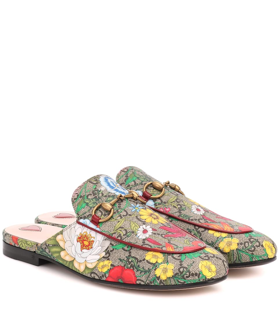 Gucci Slippers PRINCETOWN GG FLORA SLIPPERS