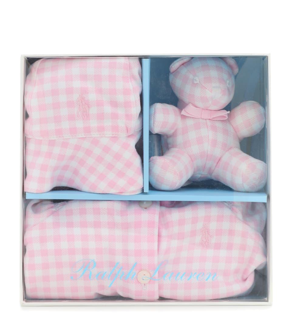 Baby Set aus Playsuit, Mütze und Teddybär