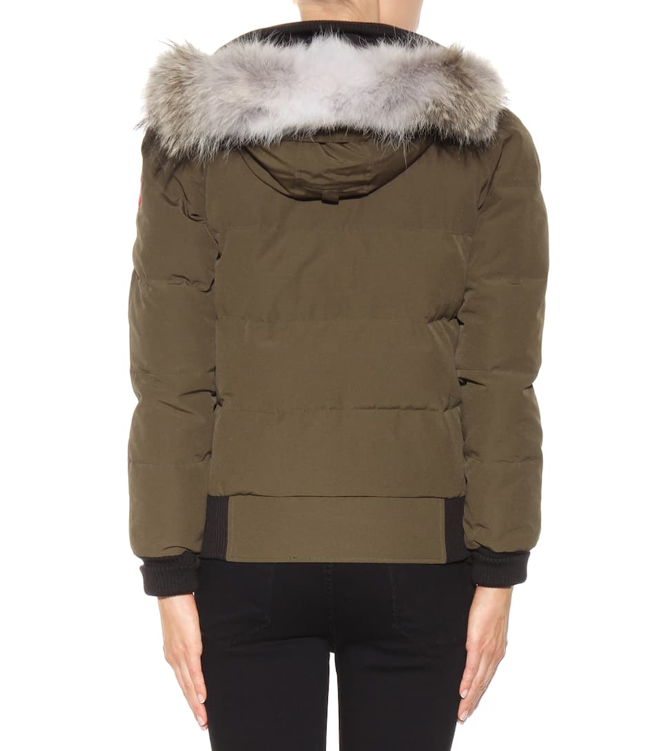 canada goose savona down bomber jacket with fur military greee modesens. Black Bedroom Furniture Sets. Home Design Ideas