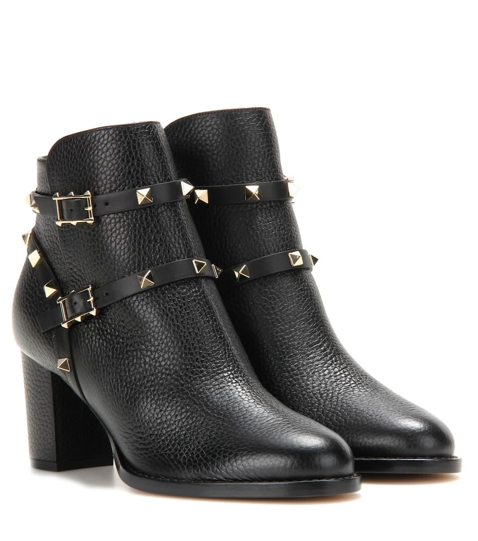 608c02650932 Valentino Garavani Rockstud Leather Ankle Boots - Valentino ...