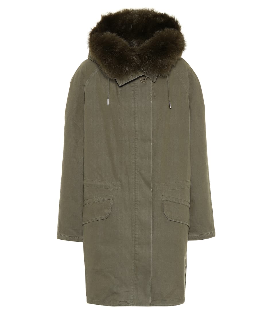 Fur Trimmed Cotton Parka Coat by Yves Salomon   Army