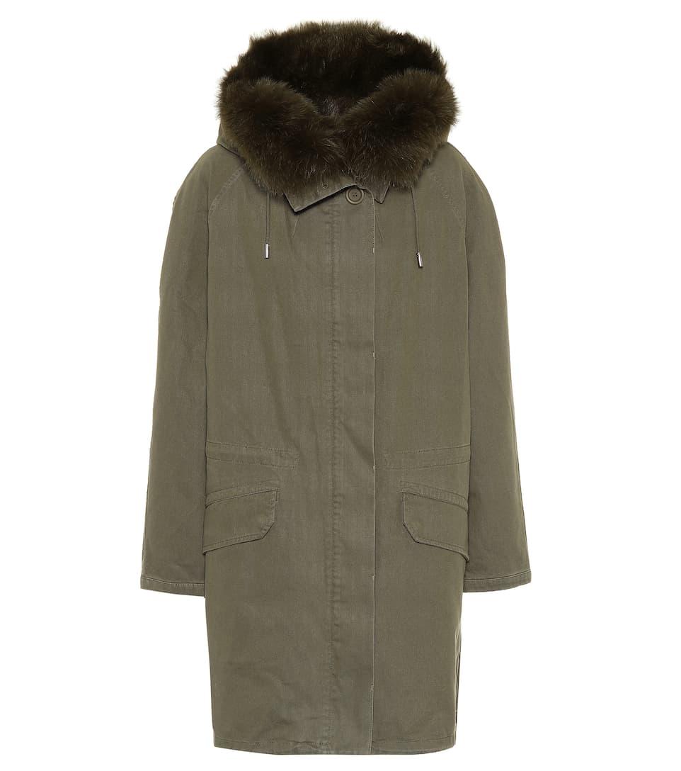 0bcc84b05b27 Fur-Trimmed Cotton Parka Coat