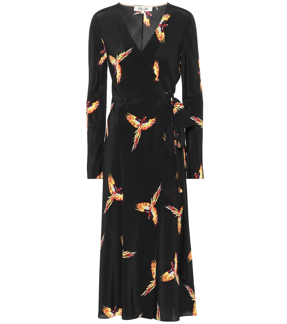 Tilly Printed Silk Wrap Dress in Black