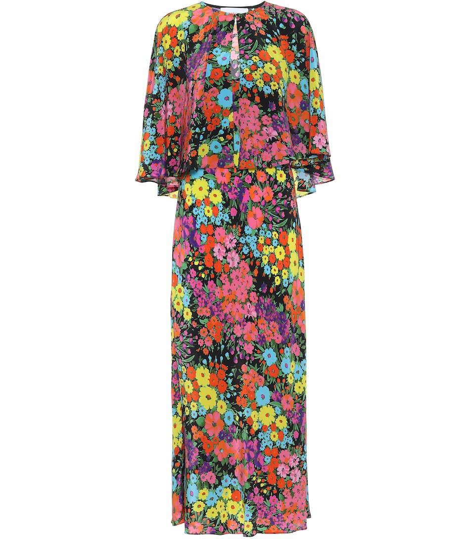 Detachable Cape Silk Dress